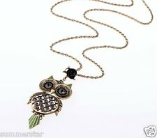 Exaggerated Texture Gemstones Owl Necklace