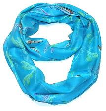 Women's Dragonfly Infinity Scarf - Turquoise Color