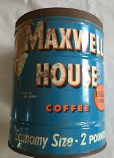 Vintage Maxwell House Coffee Tin Can 2 pounds Large, Economy Size, Nice!