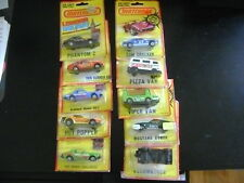 SET OF 10 LESNEY MATCHBOX SUPERFAST UNNUMBERED MODELS ON CARDS Cam Cracker 1980