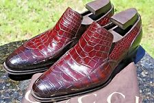 RARE GUCCI TOM FORD ERA HANDMADE BROWN ALLIGATOR WING-TIP LOAFER Sz.42EEE