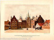 Antique litho print Utrecht Bisschoppelijk hof Het Hoff van de Graeff van Solms