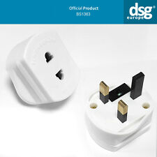 WHITE BS1363 EU EURO 2PIN TO UK 3PIN ADAPTER 1A FUSE 250V A.C. PLUG SHAVER ONLY