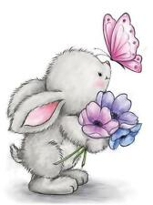 New Wild Rose Studio Clear cling rubber stamp Spring Easter Bunny & Butterfly
