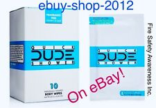 DUDE WIPES QUICK SHOWER Body Wipes 10 Pack Box Individually Wrapped ������