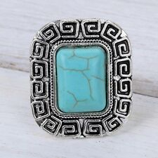 Women Retro Square Carved Turquoise Tibetan Silver Adjustable Ring Jewelry