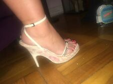 LOVELY Pink and White Christian Dior Strappy Wedges size 41 (US 10)