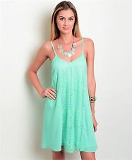 COWGIRL GYPSY  country BOHO MINT Crocheted LACE SHEATH DRESS Western MEDIUM