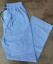 POLO RALPH LAUREN BLUE & WHITE STRIPE Cotone Lounge/Pigiama Bottoms Taglia Small