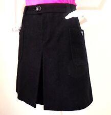 A.P.C. rue madame Paris Black Wool Blend A-Line Front Pleat Pockets Skirt Size 3