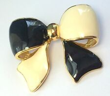 Joan Rivers Black and Creamy White Enamel Bow Pin Brooch in Gold Tone