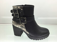 LADIES WOMENS ANKLE HIGH SNAKE LEATHER STYLE CHUNKY HEEL PLATFORM BOOTS SIZE 4