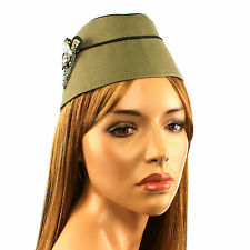 Ladies 1950s Vintage WWII War Look Stewardess Flight Attendant Cap Hat Olive