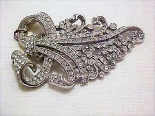 Awesome 1930's White Pave Rhinestone Trifari Floral Spray Clip Pin/Brooch