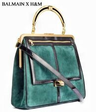 *IN HAND* BALMAIN for x H&M Green Suede Bag w/ Gold Handle Handbag Purse