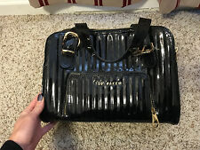 Ted Baker pleather vinyl black with gold detail purse shopper
