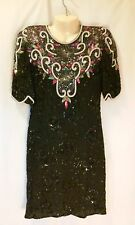 VINTAGE LAWRENCE KAZAR BLACK SILK AND SEQUIN BEADS DRESS  SMALL