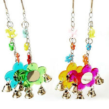 Parrot Toy Bird Flower Mirror Budgie Parrot hanging Toys with Bell Chain Acrylic