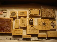 Craft Stamps---- Wood Mount Rubber Stamp Collection Lot (15)