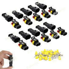 10 Kit 2 Pin Way Sealed Waterproof Electrical Wire Connector Plug Terminal Set
