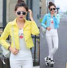 Hot Fashion Lapel Ladies Jean Denim Jacket Outwear Long Sleeve Short Slim Coat