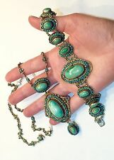 BIG Cabs ANTIQUE AUSTRO HUNGARIAN turquoise SILVER GOLD GILT necklace bracelet