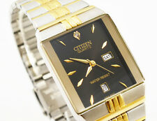 Citizen Quartz Man Day Date Two Tone Stainless Steel Black Dial Analog Watch 040