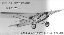 "Model Airplane Plans (RC or FF): CURTISS ROBIN 1/12 Scale 41"" for .049 Engine"