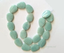 "16"" 15x20mm Green Amazonite Carved Leaf Beads (20pcs)"