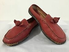 BORN Slip-On Shoes Brick Red Leather w/Accent Bow/Flower Size 6.5/37