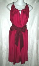 LANVIN Red Belted Silk Chain Neck Dress 38 4 $1400