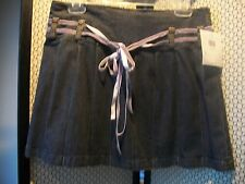 id/entity Ladies Girls Sz 6 NWT Demin MINI SKIRT Gray Pleated with Pink Ties