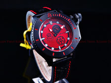 Invicta Men's 48mm Combat NWO CCCP Anchor Red Russian Diver Leather Strap Watch