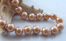 AAA 8mm Brown South Sea Shell Pearl Round Beads Necklace 18'' F-27