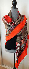 "BNIB ORANGE AND SEPIA CENT PLIS DES MIAO HERMES CASHMERE SHAWL 54""XL"