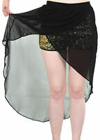 Ladies Chiffon Gold Sequin Shorts High and Low Maxi Womens Fishtail Skirt 8 - 14