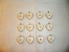 VTG (12) Blue & White Lucite Mustard Seed Heart Charms Pendants Religious