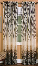 Kenya Zebra Leopard Curtain Panel IN HAND Safari Decor Brown Animal Print 50x84