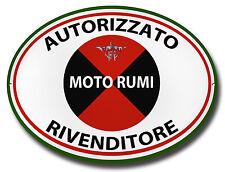 MOTO RUMI AUTHORIZED DEALER OVAL METAL SIGN.VINTAGE MOTO RUMI MOTORCYCLES.