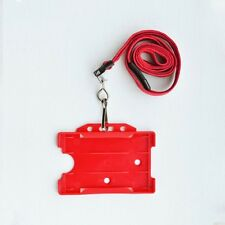 Red Double ID Card Holder & Red Neck Strap Lanyard With Metal Clip