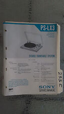 Sony ps-lx3 service manual original repair book stereo turntable record player