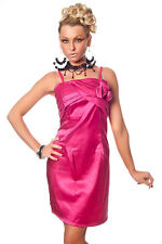 Satin Cocktailkleid mit Deko Rosen Pink Gr. L