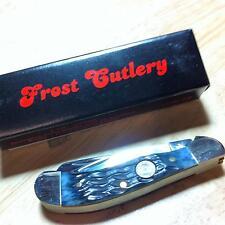 "Frost Cutlery Black Jigged Bone Little Saddlehorn 3 1/4"" Pocket Knife  F14096BJB"