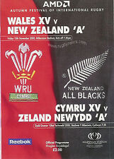 WALES A v NEW ZEALAND A 2000 RUGBY PROGRAMME