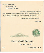 Sc UY7 Preprinted Paid Reply Postal Card Wm T Knott Co NY Order Cancellation