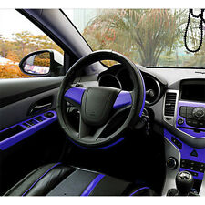 3D Blue Carbon Fiber Texture Decorative Sticker Vinyl Wrap For Center Console