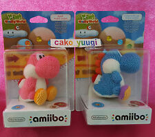 LOT AMIIBO YOSHI LAINE YARN WOOLLY WORLD BLUE + PINK  NINTENDO