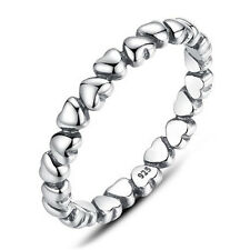 Size 7 925 Solid Sterling Silver Stackable Stacking Love Hearts Dress Ring Band