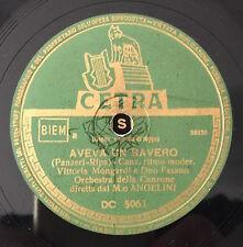 """RARE 78 RPM 10"""" VITTORIA MONGARDI E DUO FASANO AVEVA UN BAVERO ANGELINI ROSE"""