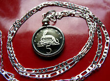 """21mm--CROCODILE  Proof Jamaican Coin Pendant on a 30"""" 925 Sterling Silver Chain."""